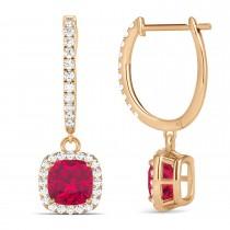Cushion Ruby & Diamond Halo Dangling Earrings 14k Rose Gold (3.40ct)