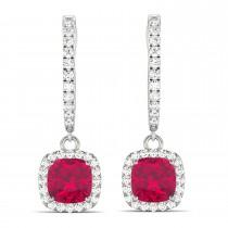 Cushion Ruby & Diamond Halo Dangling Earrings 14k White Gold (3.40ct)