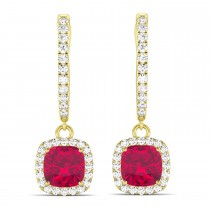 Cushion Ruby & Diamond Halo Dangling Earrings 14k Yellow Gold (3.40ct)