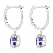 Cushion Tanzanite & Diamond Halo Dangling Earrings 14k White Gold (2.70ct)