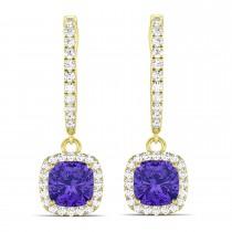 Cushion Tanzanite & Diamond Halo Dangling Earrings 14k Yellow Gold (2.70ct)