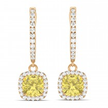 Cushion Shape Yellow Diamond & Diamond Halo Dangling Earrings 14k Rose Gold (2.18ct)