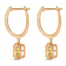 Cushion Shape Yellow Diamond & Diamond Halo Dangling Earrings 14k Rose Gold (2.18ct)