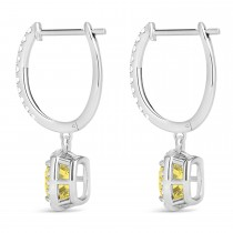 Cushion Shape Yellow Diamond & Diamond Halo Dangling Earrings 14k White Gold (2.18ct)