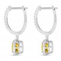 Cushion Yellow Sapphire & Diamond Halo Dangling Earrings 14k White Gold (2.70ct)