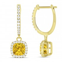 Cushion Yellow Sapphire & Diamond Halo Dangling Earrings 14k Yellow Gold (2.70ct)