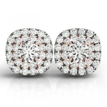 Round Cut Double Cushion Halo Stud Earrings 14k Two Tone Gold (1.50ct)