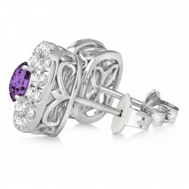 Double Halo Amethyst & Diamond Earrings 14k White Gold (1.36ct)