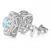 Double Halo Aquamarine & Diamond Earrings 14k White Gold (1.36ct)