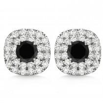 Double Halo Black Diamond & Diamond Earrings 14k White Gold (1.36ct)