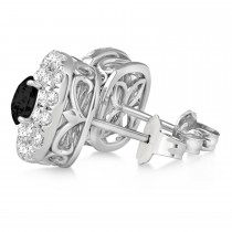 Double Halo Black Diamond & Diamond Earrings 14k White Gold (1.36ct)