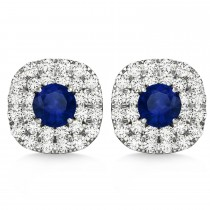 Double Halo Blue Sapphire & Diamond Earrings 14k White Gold (1.36ct)