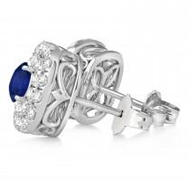 Double Halo Blue Sapphire & Diamond Earrings 14k White Gold (1.36ct)
