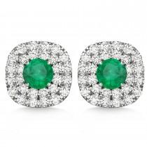 Double Halo Emerald & Diamond Earrings 14k White Gold (1.36ct)