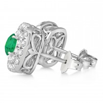 Double Halo Emerald & Diamond Earrings 14k White Gold (1.36ct)