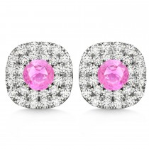 Double Halo Pink Sapphire & Diamond Earrings 14k White Gold (1.36ct)
