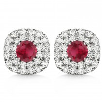 Double Halo Ruby & Diamond Earrings 14k White Gold (1.36ct)