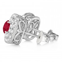 Double Halo Ruby & Diamond Earrings 14k White Gold (1.36ct)|escape