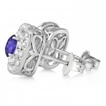 Double Halo Tanzanite & Diamond Earrings 14k White Gold (1.36ct)