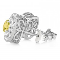 Double Halo Yellow & White Diamond Earrings 14k White Gold (1.36ct)
