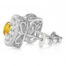 Double Halo Yellow Sapphire & Diamond Earrings 14k White Gold (1.36ct)