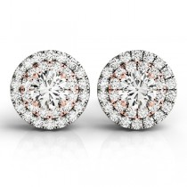 Round Cut Double Halo Diamond Stud Earrings 14k Two Tone Gold (1.00ct)