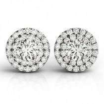 Round Cut Double Halo Diamond Stud Earrings 14k White Gold (1.00ct)
