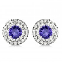 Round Double Halo Diamond & Tanzanite Earrings 14k White Gold 1.65ct
