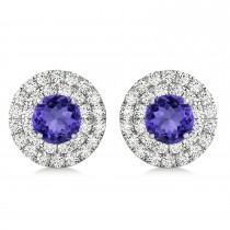 Round Double Halo Diamond & Tanzanite Earrings 14k White Gold 1.65ct
