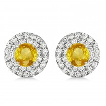 Round Double Halo Diamond & Yellow Sapphire Earrings 14k White Gold 1.65ct