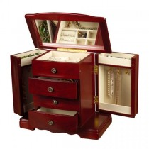 Wooden Musical Jewelry Box, Antique Finish, Interior Mirror, Jewel Case