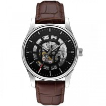 Caravelle Men's Automatic Collection Brown Leather Strap Watch