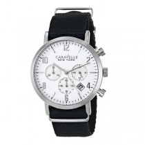 Caravelle Men's Black & White Collection Chronograph Nylon Band Watch