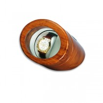 Oak Wood Single Round Watch Winder Brown High Gloss
