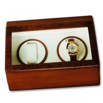 Double Watch Winder & Display Case in Brown Wood