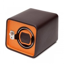 Wolf Designs Single Watch Winder in Brown/Orange Faux Leather