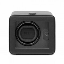 WOLF Windsor Men's Single Watch Winder in Faux Leather with Glass Front Cover