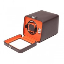 Wolf Designs Single Watch Winder w/ Cover in Brown/Orange Faux Leather