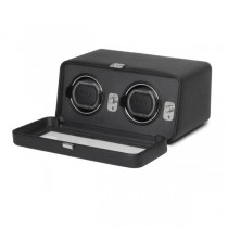 WOLF Windsor Double Dual Watch Winder w/ Cover in Black