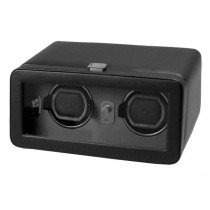 Wolf Designs Double Dual Watch Winder w/ Cover in Black