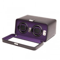 Wolf Designs Double Dual Watch Winder w/ Cover in Black/Purple