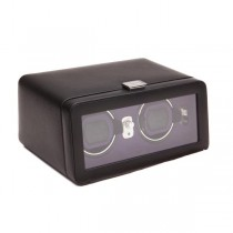 WOLF Windsor Double Dual Watch Winder w/ Cover in Black/Purple