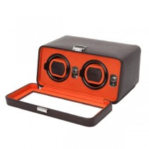 Wolf Designs Double Dual Watch Winder w/ Cover in Brown/Orange