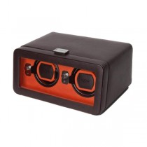 WOLF Windsor Double Dual Watch Winder w/ Cover in Brown/Orange