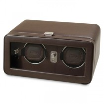 Men's Double Watch Winder in Faux Leather with Glass Front Cover