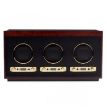 Wolf Meridian Men's Triple Watch Winder Box Wood Veneer for Home/Travel in 3 Colors