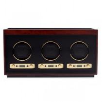 WOLF Meridian Men's Triple Watch Winder Box Wood Veneer for Home/Travel in 3 Colors