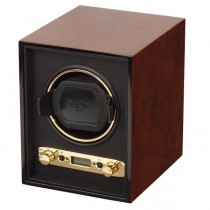 WOLF Meridian Men's Single Watch Winder Box Wood Veneer for Home/Travel in 3 Colors