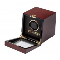 Men's Single Watch Winder with Glass Cover, Key Lock Closure 2 Colors