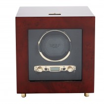 WOLF Savoy Men's Single Watch Winder with Glass Cover, Key Lock Closure 2 Colors
